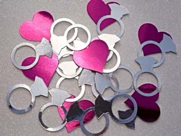 Silver Engagement Ring Confetti Pink Hearts